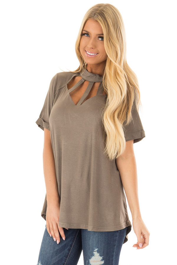 Olive High Neck Top with Caged Neckline front closeup