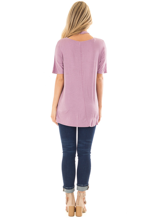 Lavender Top with Cross Neck Strap Detail back full body