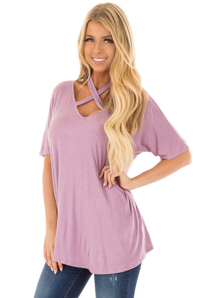 Lavender Top with Cross Neck Strap Detail front closeup