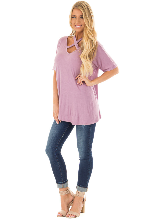 Lavender Top with Cross Neck Strap Detail front full body
