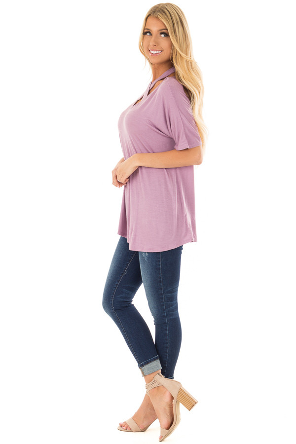 Lavender Top with Cross Neck Strap Detail side full body