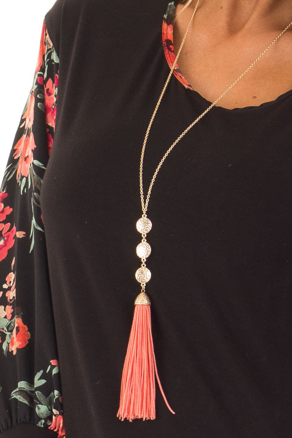 Coral Tassel Necklace with Three Gold Pendants detail