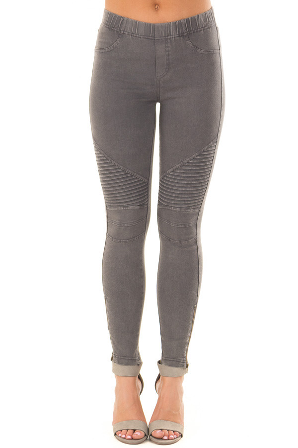 Charcoal Moto Jeggings with Side Zipper Detail front