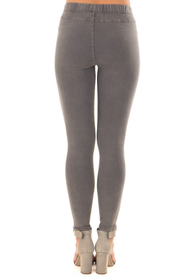 Charcoal Moto Jeggings with Side Zipper Detail back