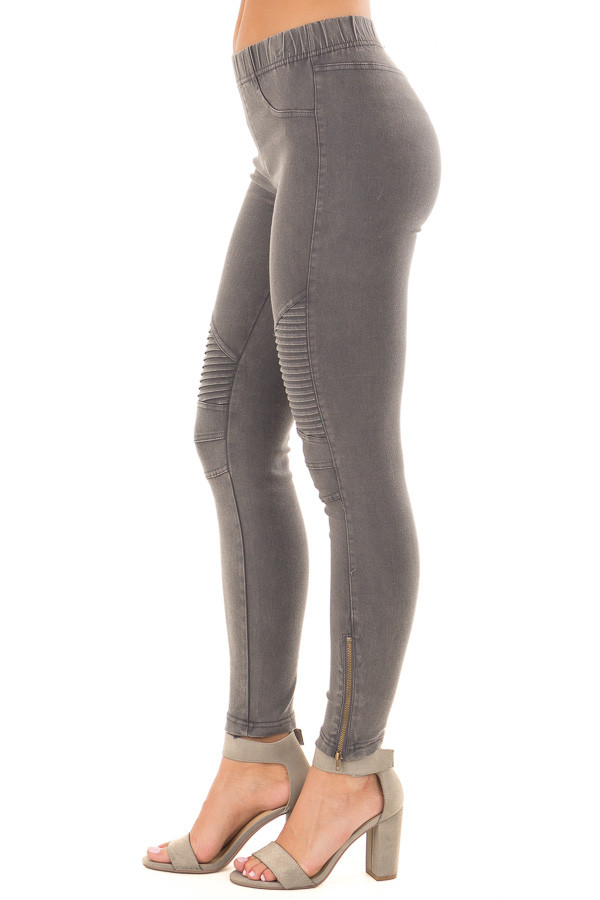 Charcoal Moto Jeggings with Side Zipper Detail right side