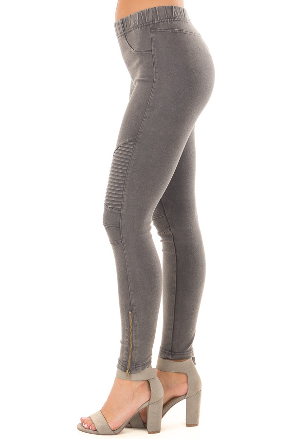 Charcoal Moto Jeggings with Side Zipper Detail left side