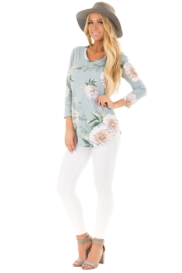 Aqua V Neck Top with Floral Print Detail front full body