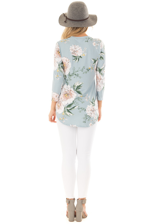 Aqua V Neck Top with Floral Print Detail back full body