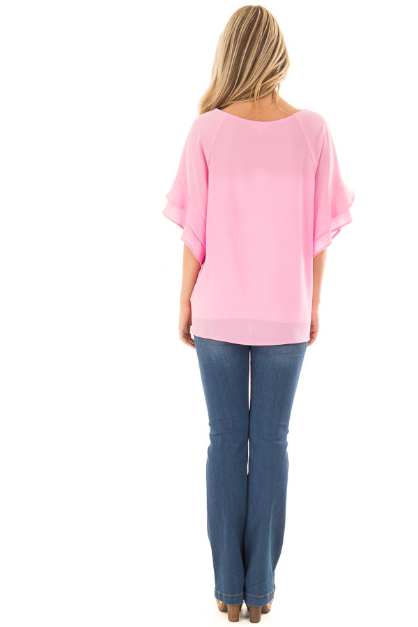 Bubblegum Pink Top with Ruffled Short Sleeves back full body