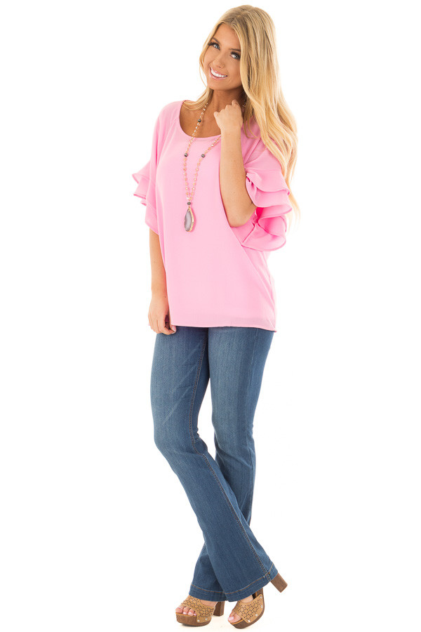 Bubblegum Pink Top with Ruffled Short Sleeves front full body