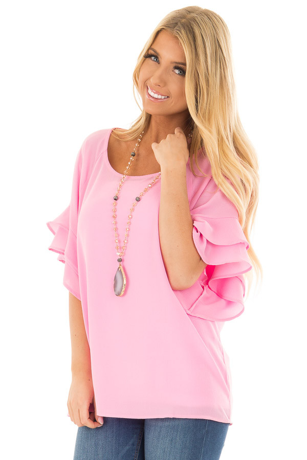 Bubblegum Pink Top with Ruffled Short Sleeves front closeup