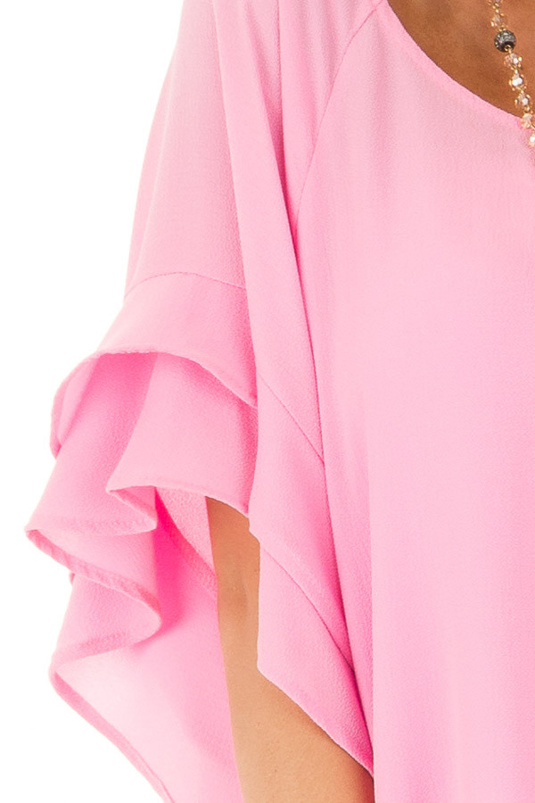 Bubblegum Pink Top with Ruffled Short Sleeves front detail