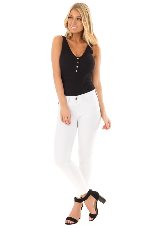 Black Ribbed Sleeveless Bodysuit with Button Detail front full body