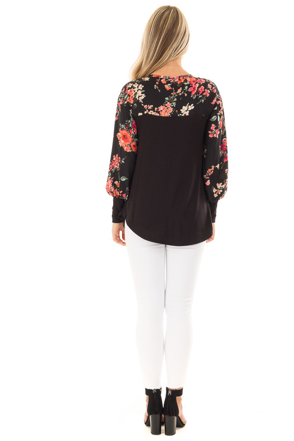 Black Bubble Sleeve Top with Floral Print Contrast back full body
