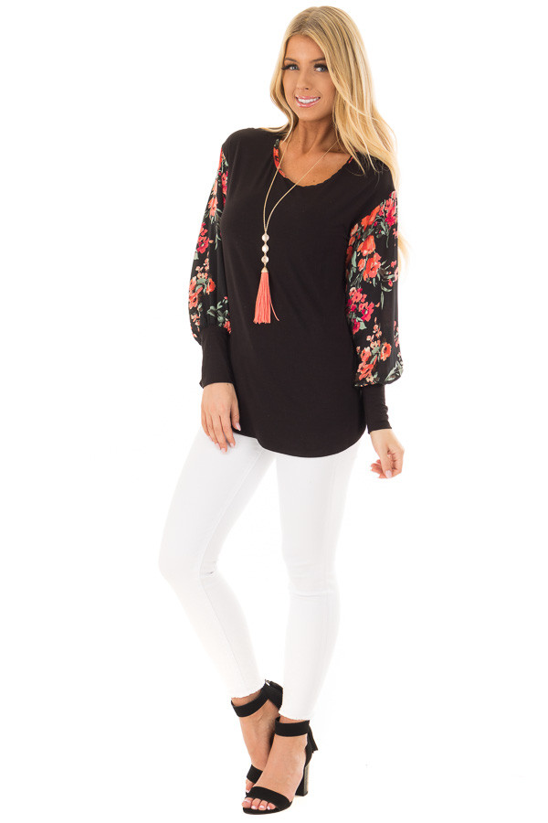 Black Bubble Sleeve Top with Floral Print Contrast front full body