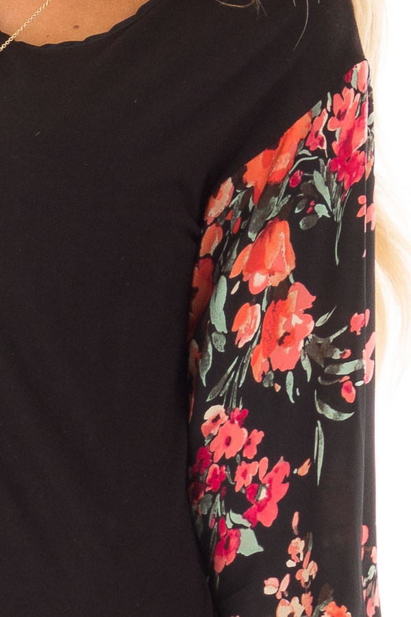 Black Bubble Sleeve Top with Floral Print Contrast front detail