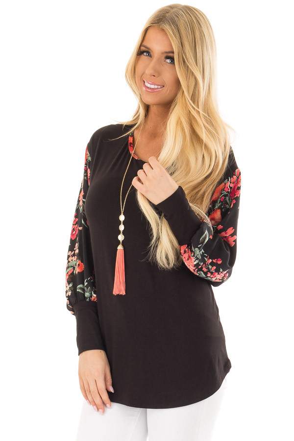 Black Bubble Sleeve Top with Floral Print Contrast front closeup