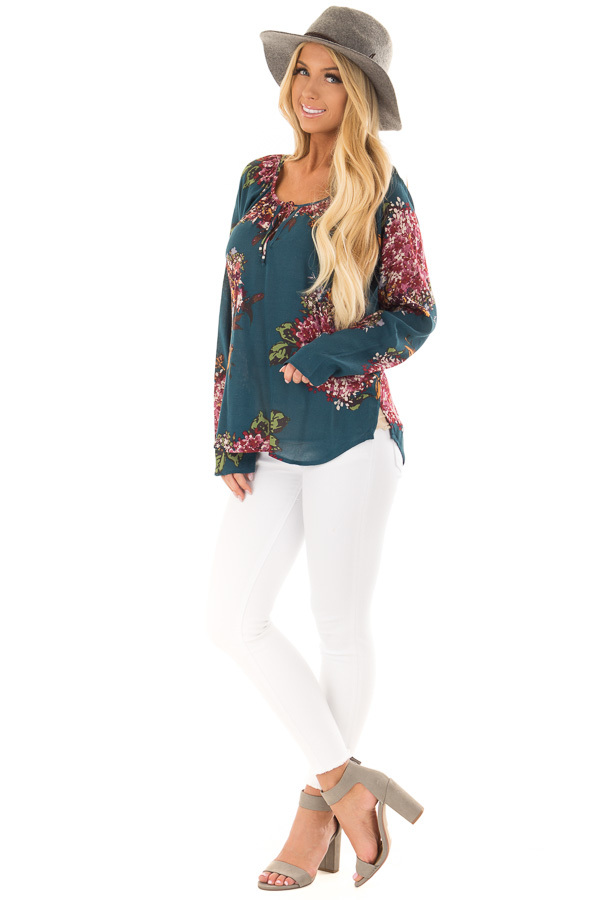 Dark Teal Floral Print Top with Front Tie Detail front full body