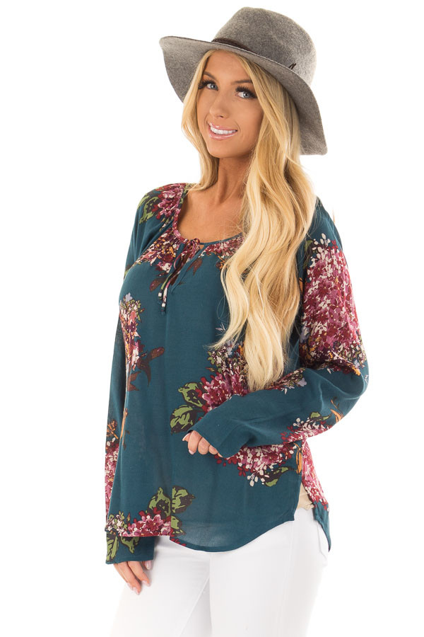 Dark Teal Floral Print Top with Front Tie Detail front closeup