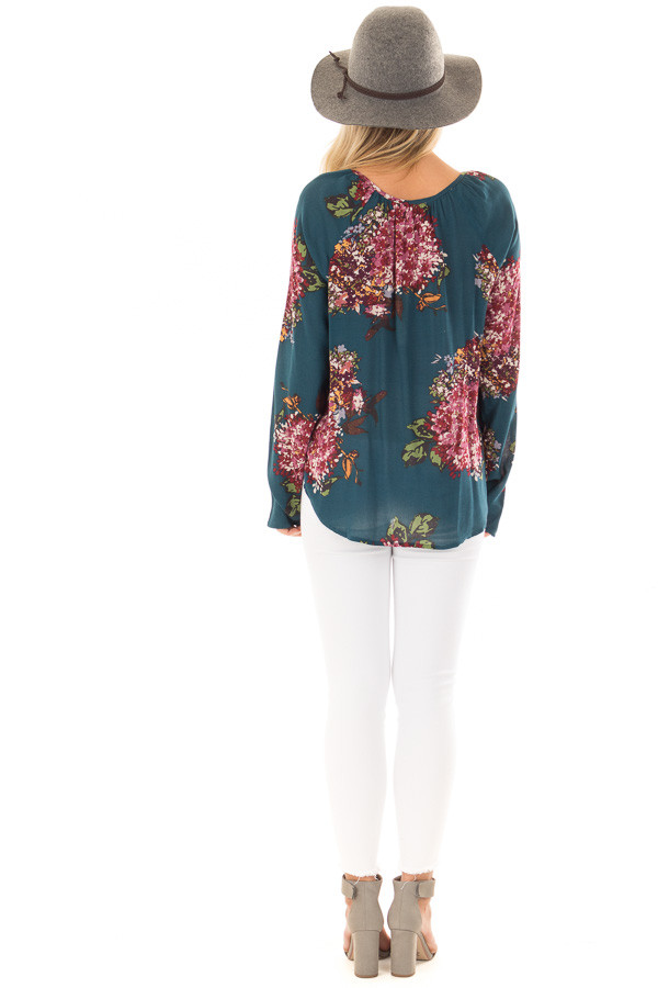 Dark Teal Floral Print Top with Front Tie Detail back full body