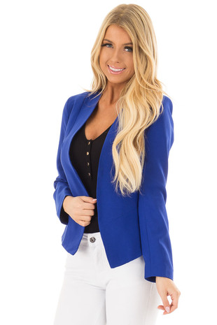 Royal Blue Long Sleeve Blazer front closeup