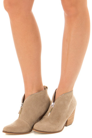 Taupe Faux Suede Booties with Zipper Detail front side