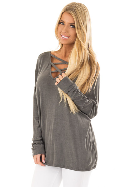 Washed Charcoal Criss Cross Neckline Long Sleeve Top front closeup