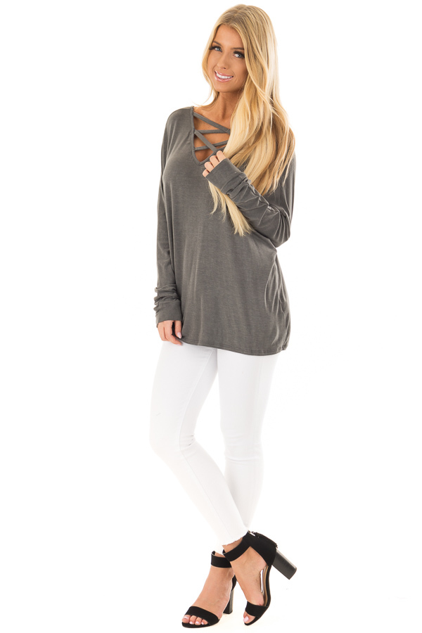 Washed Charcoal Criss Cross Neckline Long Sleeve Top front full body
