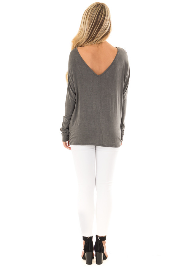 Washed Charcoal Criss Cross Neckline Long Sleeve Top back full body
