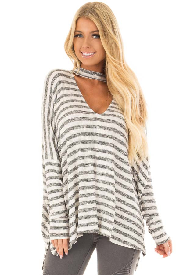 Ivory and Charcoal Striped Oversized Top with Chest Cutout front closeup