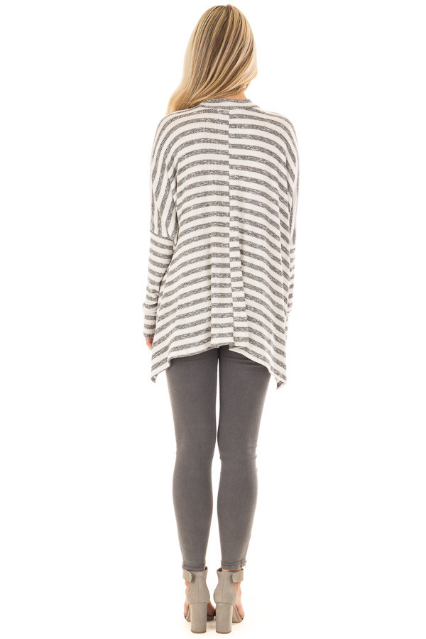 Ivory and Charcoal Striped Oversized Top with Chest Cutout back full body