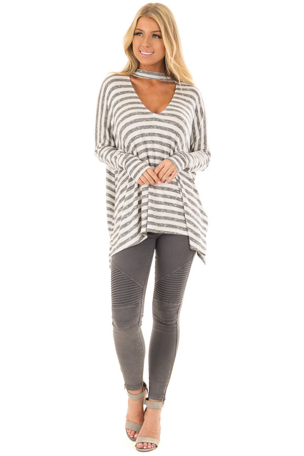 Ivory and Charcoal Striped Oversized Top with Chest Cutout front full body