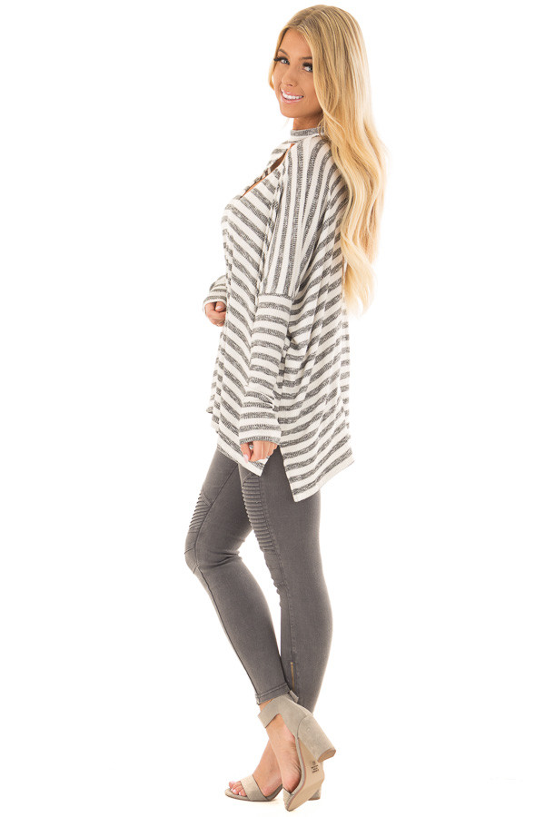 Ivory and Charcoal Striped Oversized Top with Chest Cutout side full body