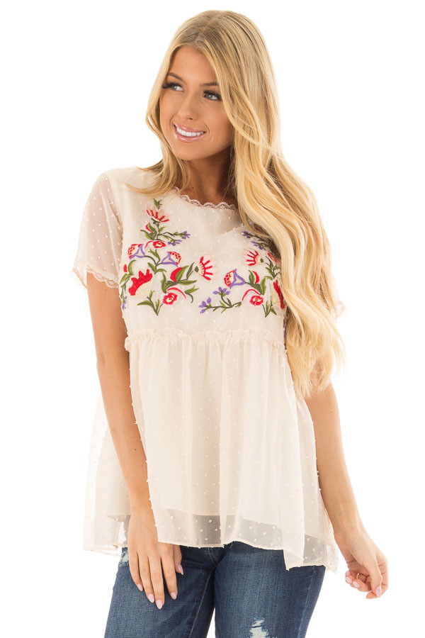 Cream Babydoll Top with Floral and Textured Details front closeup
