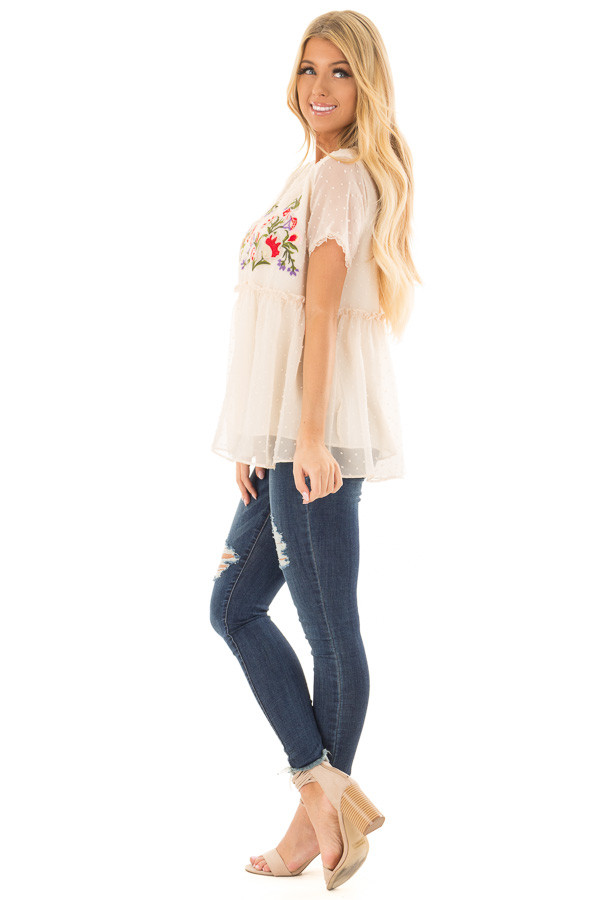 Cream Babydoll Top with Floral and Textured Details side full body