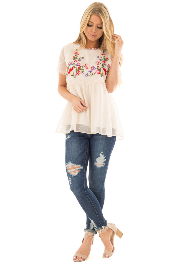 Cream Babydoll Top with Floral and Textured Details front full body