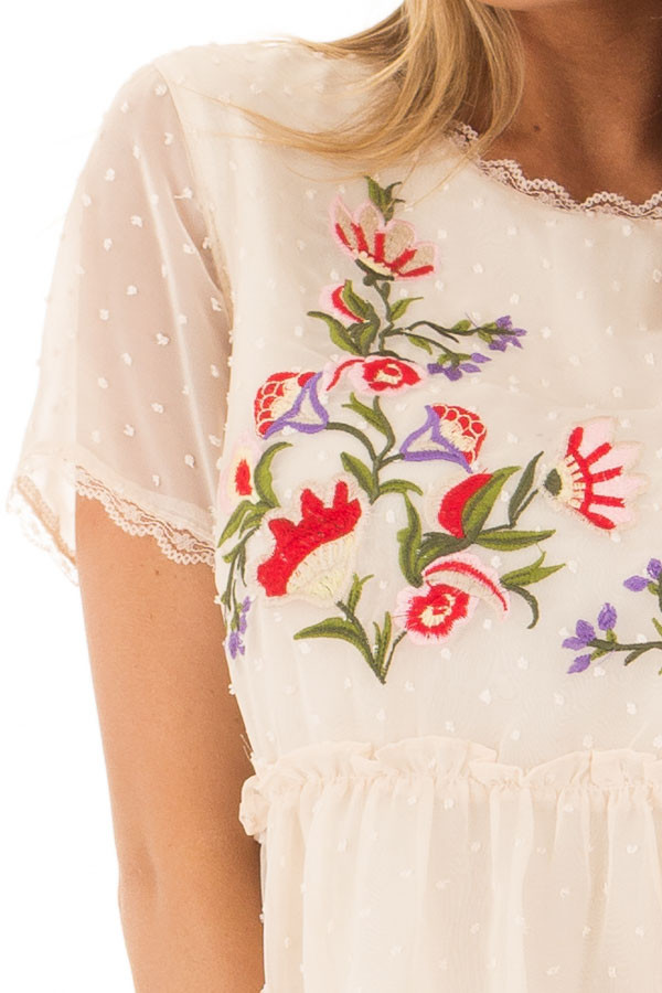 Cream Babydoll Top with Floral and Textured Details front detail