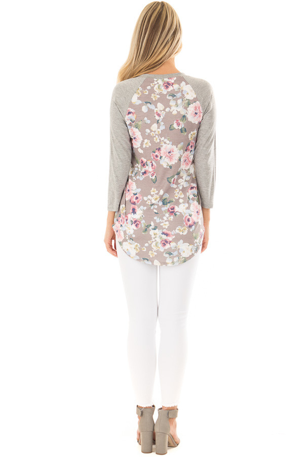 Taupe Floral Print Raglan Top with Heather Grey Contrast back full body
