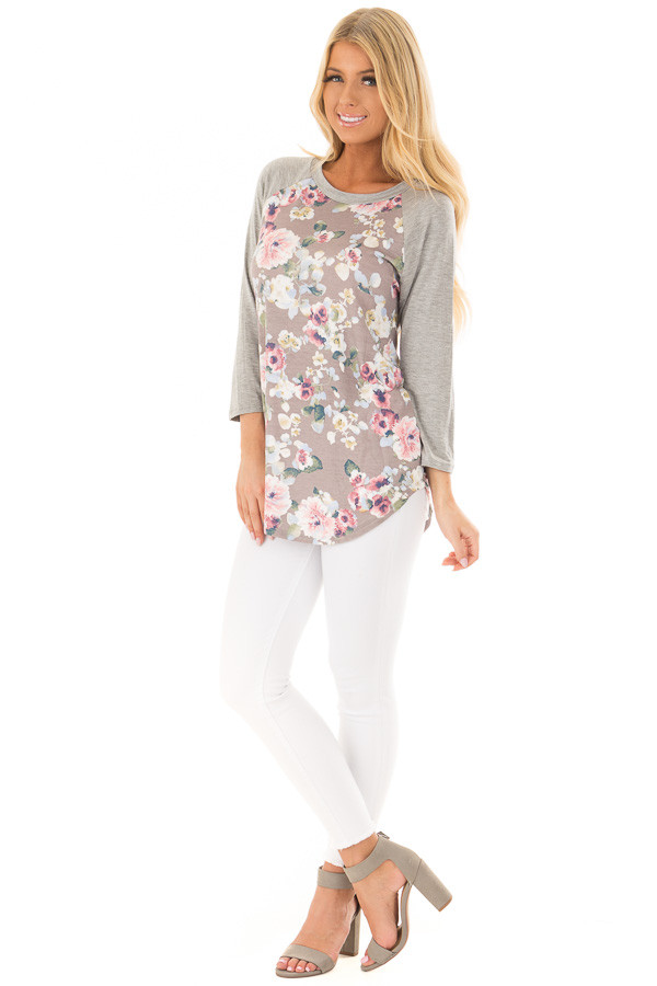 Taupe Floral Print Raglan Top with Heather Grey Contrast front full body