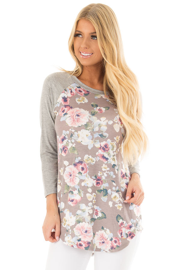 Taupe Floral Print Raglan Top with Heather Grey Contrast front closeup