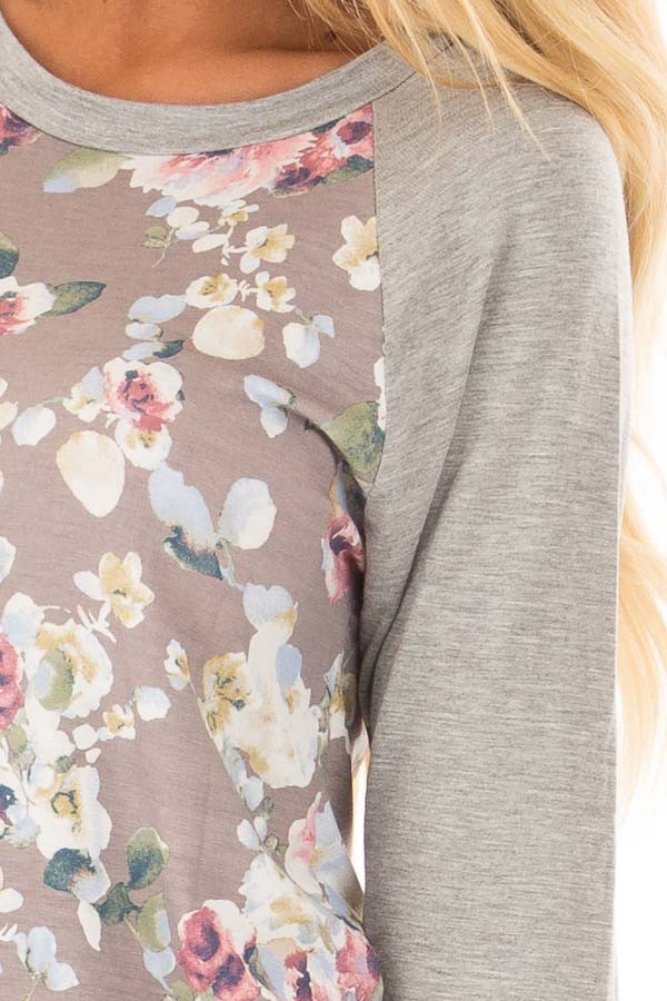 Taupe Floral Print Raglan Top with Heather Grey Contrast front detail
