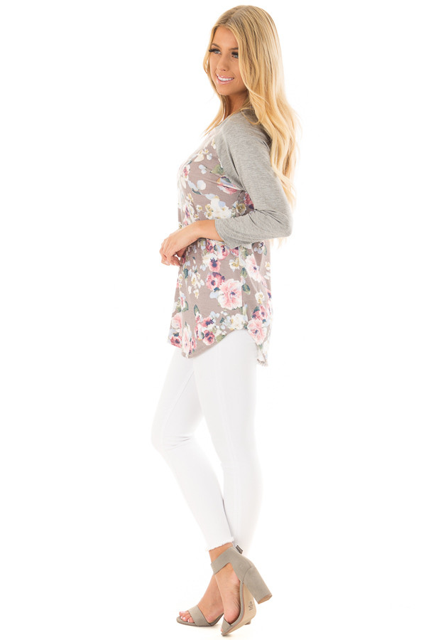 Taupe Floral Print Raglan Top with Heather Grey Contrast side full body