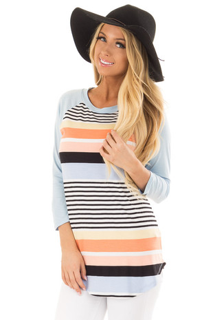 Sky Blue Striped Raglan Top front closeup
