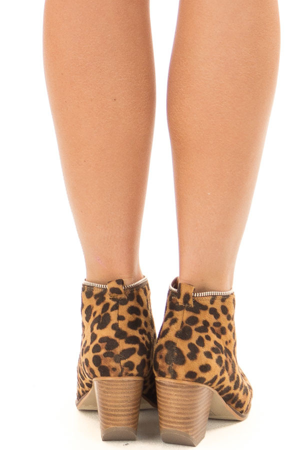 Leopard Faux Suede Booties with Zipper Detail back