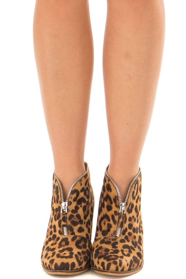 Leopard Faux Suede Booties with Zipper Detail front