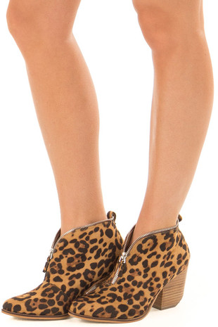 Leopard Faux Suede Booties with Zipper Detail front side