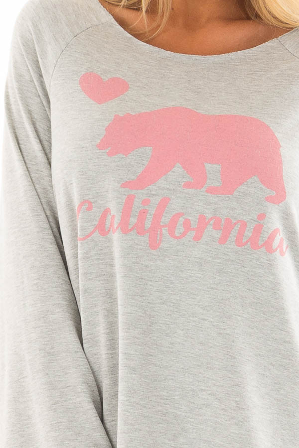 Heather Grey 'California' Loose Fit Top front detail