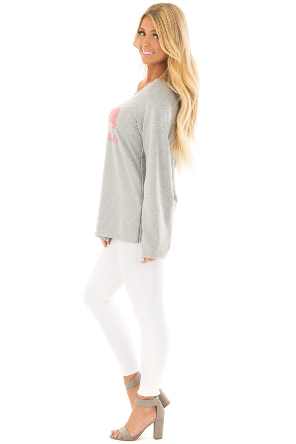 Heather Grey 'California' Loose Fit Top side full body