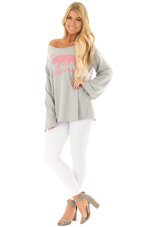 Heather Grey 'California' Loose Fit Top front full body