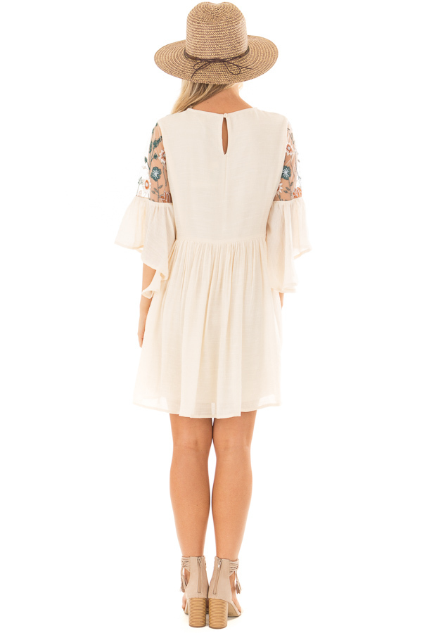 Cream Embroidered Flowy Bell Sleeve Dress back full body